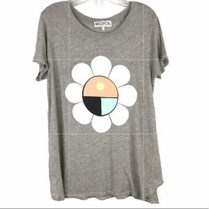WILDFOX Flower Child Gray Graphic Tee Shirt Size L